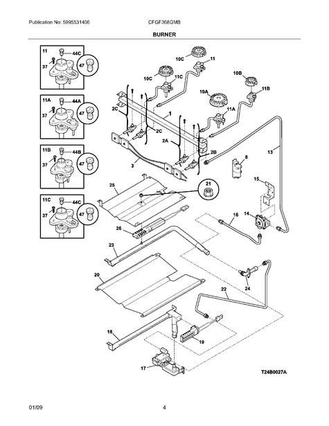 Frigidaire Cfgf368gmb Parts List