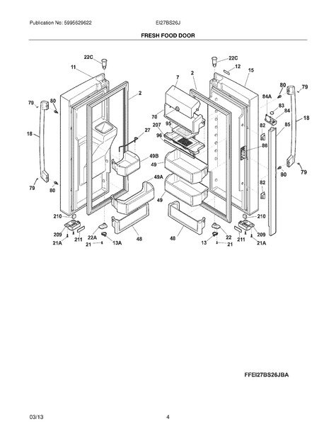 frigidaire ei27bs26jsa parts list