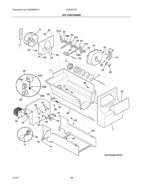 frigidaire lfss2312te0 parts list