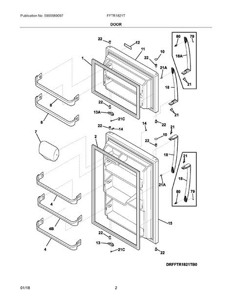 frigidaire fftr1821tw0 parts list