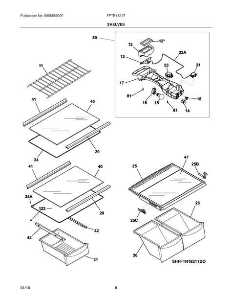 frigidaire fftr1821ts0 parts list