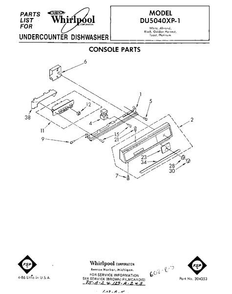 Whirlpool Du5040xp1 Parts List