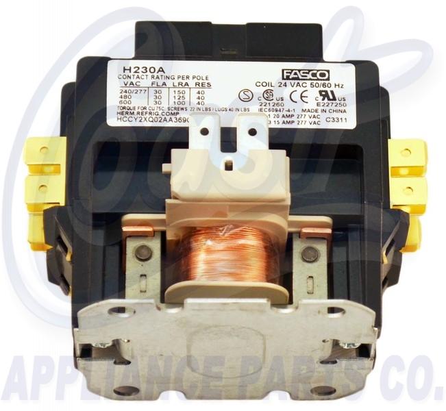 H230a Contactor 2 Pole 30 Amps 24 Coil Voltage